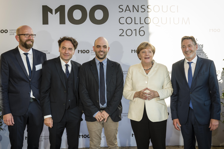 M100 am 15.9.2016 - Moritz van Dülmen, Giovanni di Lorenzo, Roberto Saviano, Dr. Angela Merkel, Jann Jakobs